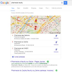 Capture d'écran Recherche Google pharmacie Neuilly