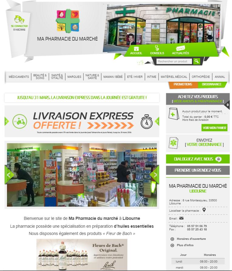 Capture d'écran Pharmacie du marché Libourne développé par mesoigner.fr