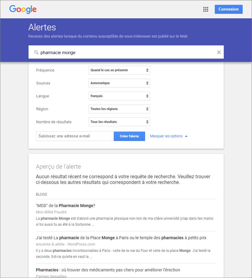 Capture d'écran de création d'une Google Alerte