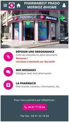 Capture d'écran de l'Application Pharmabest PradoMermoz@home Source : GooglePlay