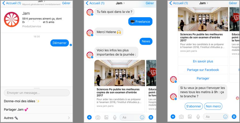 Copies d'écran Jam sur Messenger