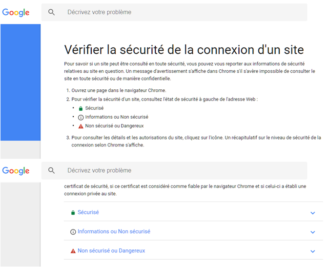 Identification de sites sécurisés par Google