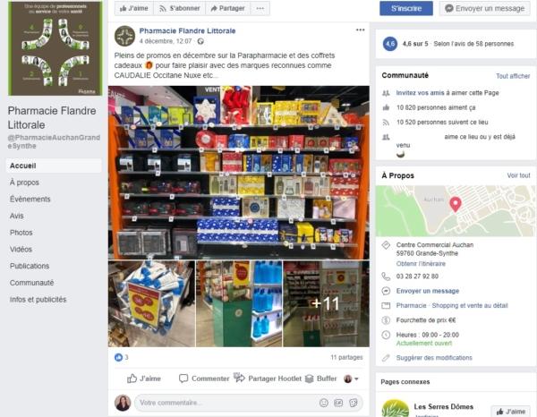 Page Facebook de la pharmacie Flandre Littorale