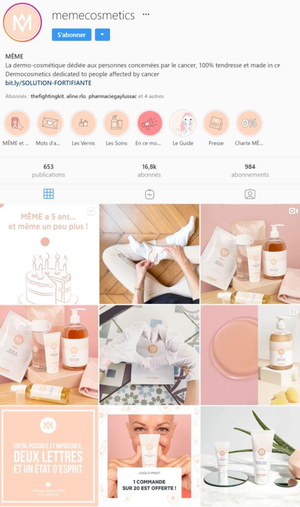 Compte Instagram Même-Cosmetics